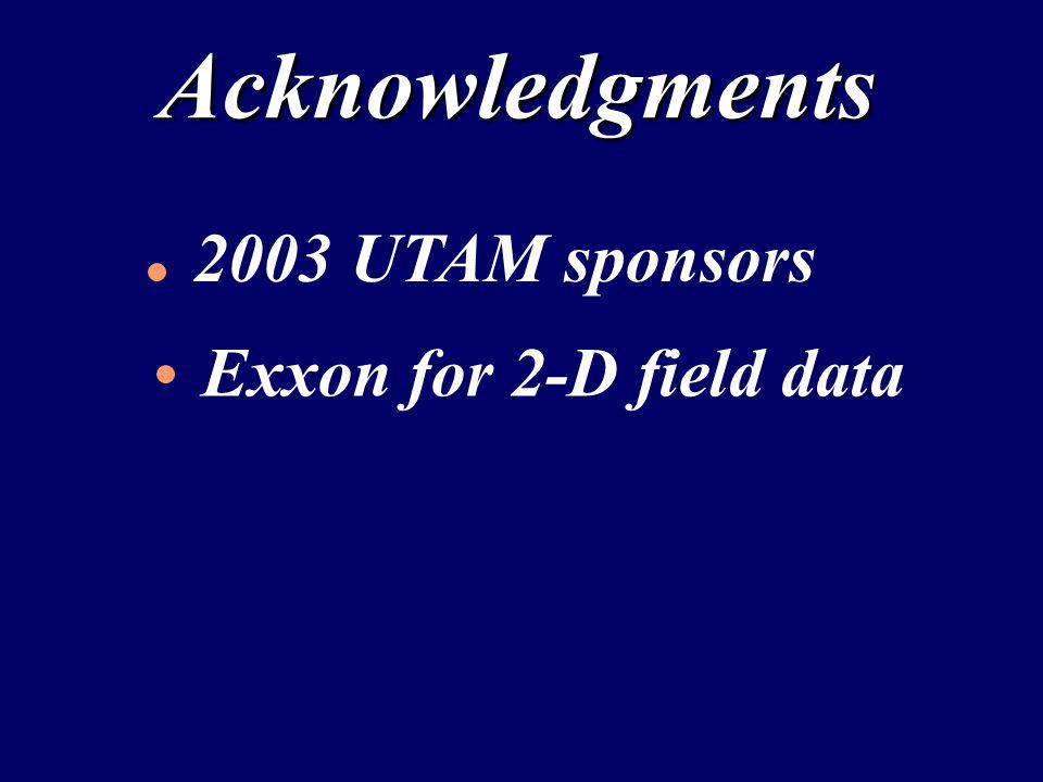 Acknowledgments 2003 UTAM sponsors Exxon for 2-D field data