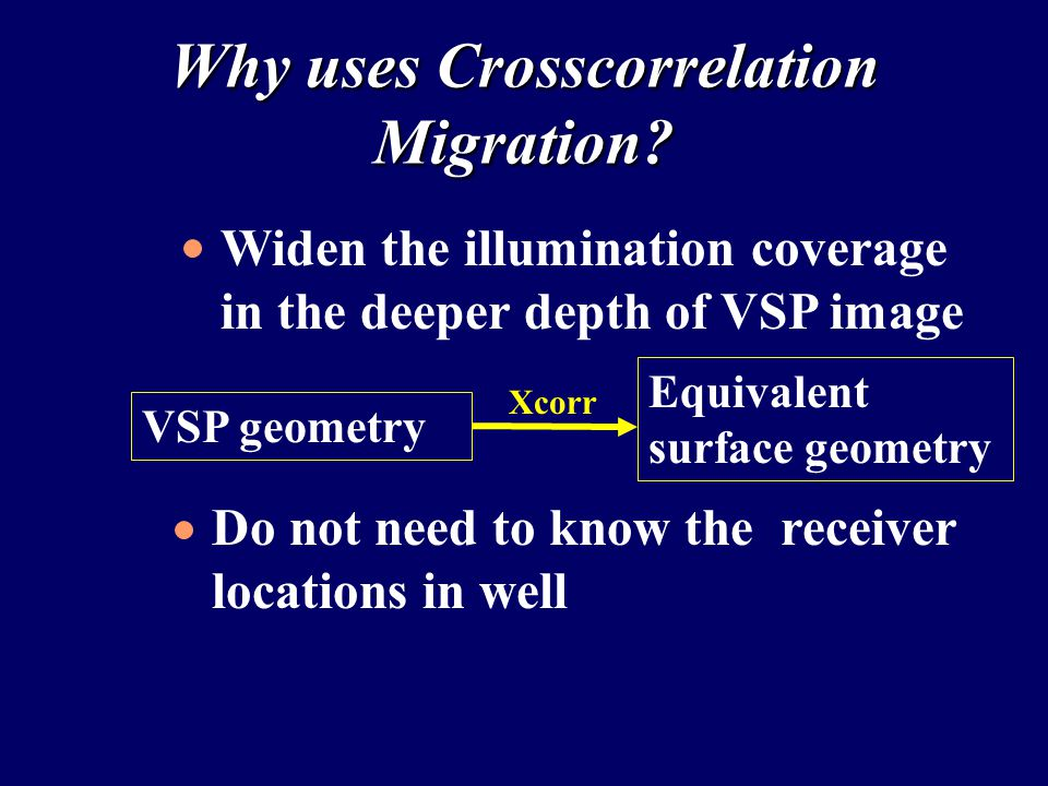 Why uses Crosscorrelation Migration.