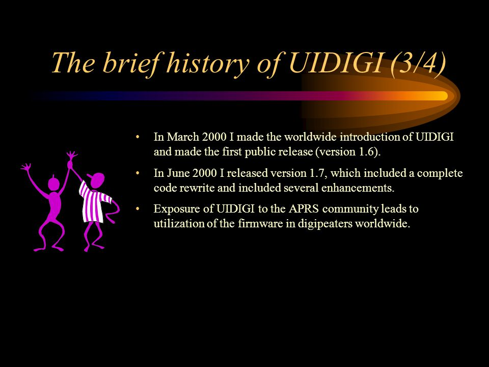 The brief history of UIDIGI (3/4) In March 2000 I made the worldwide introduction of UIDIGI and made the first public release (version 1.6). In June 2