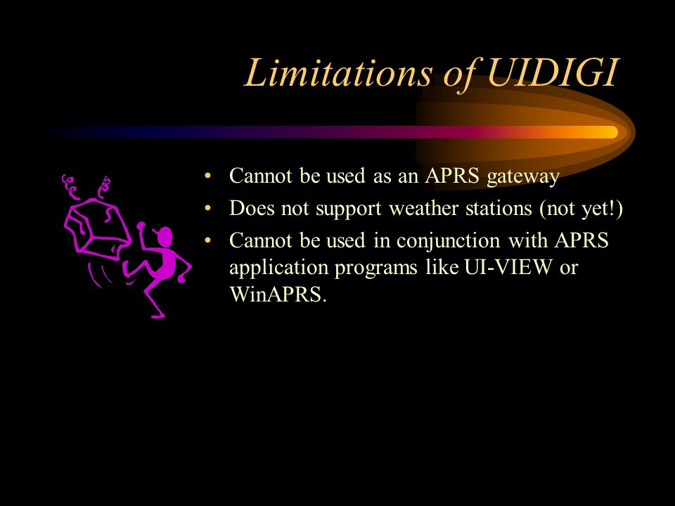 Limitations of UIDIGI Cannot be used as an APRS gateway Does not support weather stations (not yet!) Cannot be used in conjunction with APRS applicati