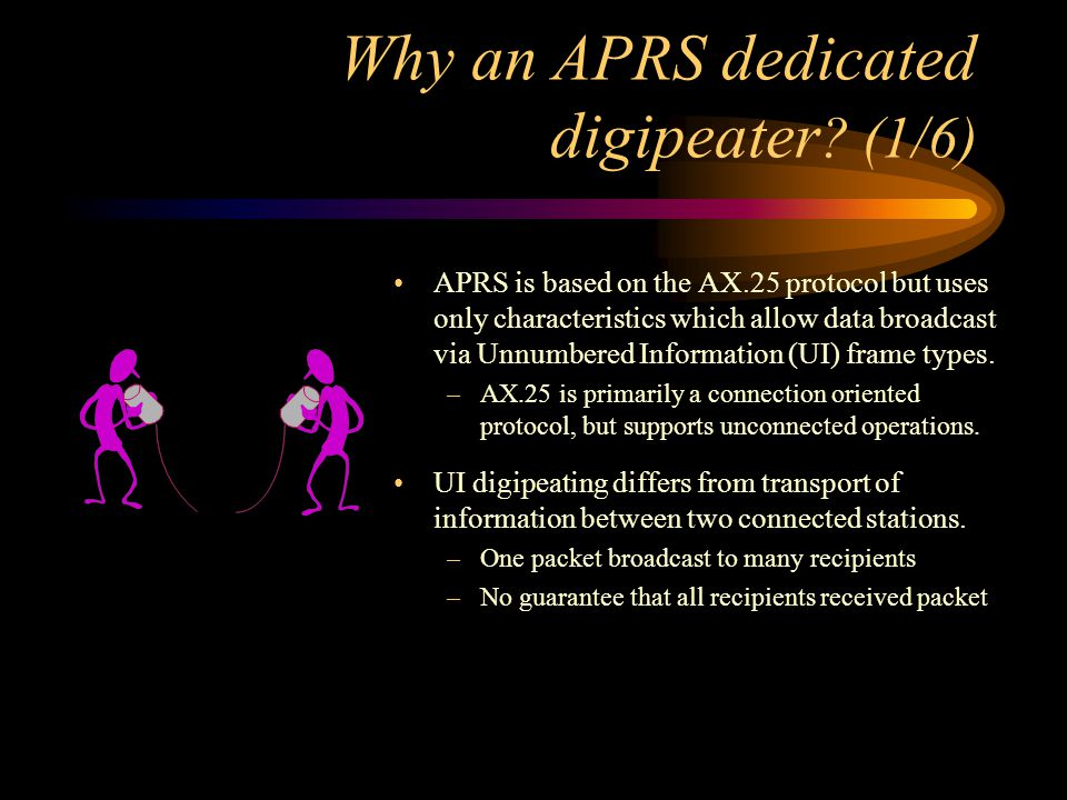 Why an APRS dedicated digipeater ? (1/6) APRS is based on the AX.25 protocol but uses only characteristics which allow data broadcast via Unnumbered I