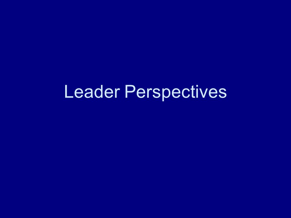 Leader Perspectives