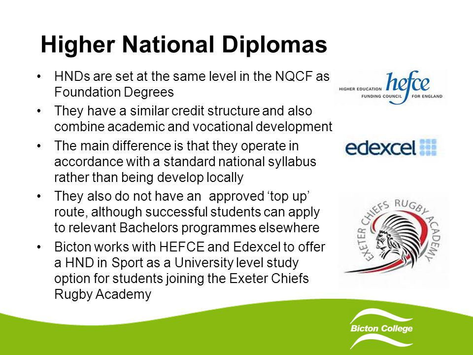 Higher National Diplomas HNDs are set at the same level in the NQCF as Foundation Degrees They have a similar credit structure and also combine academic and vocational development The main difference is that they operate in accordance with a standard national syllabus rather than being develop locally They also do not have an approved 'top up' route, although successful students can apply to relevant Bachelors programmes elsewhere Bicton works with HEFCE and Edexcel to offer a HND in Sport as a University level study option for students joining the Exeter Chiefs Rugby Academy