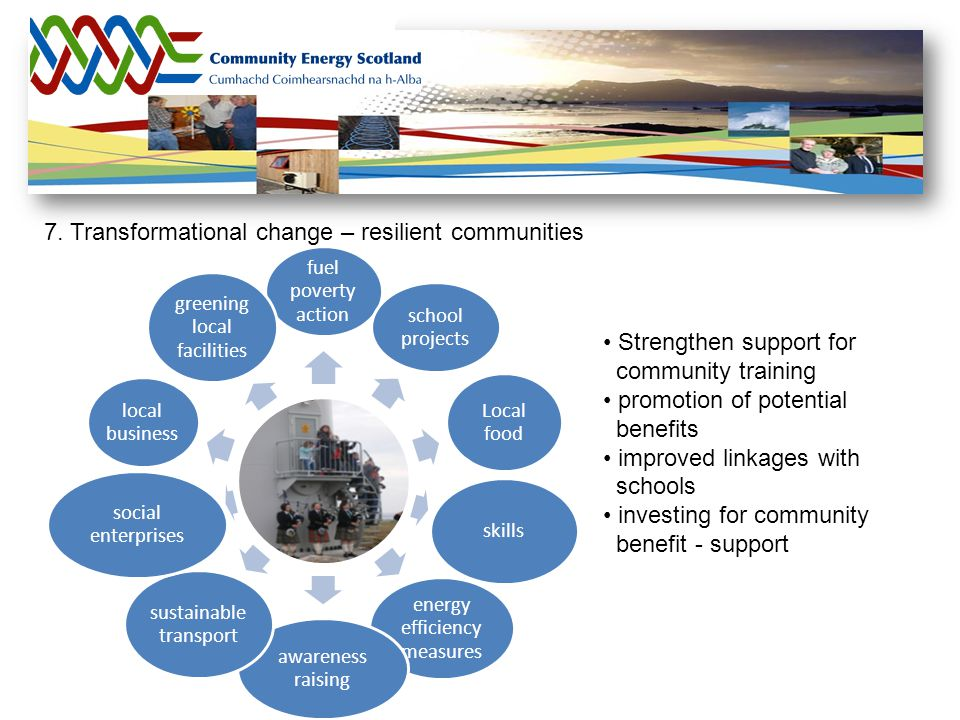7. Transformational change – resilient communities fuel poverty action school projects Local food skills energy efficiency measures awareness raising