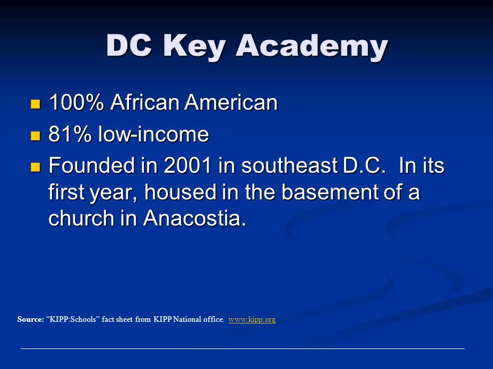 DC Key Academy 100% African American 100% African American 81% low-income 81% low-income Founded in 2001 in southeast D.C. In its first year, housed i