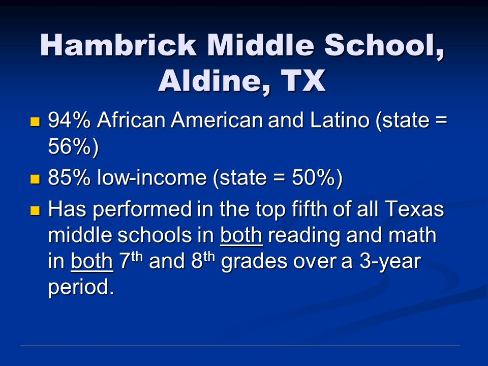 Hambrick Middle School, Aldine, TX 94% African American and Latino (state = 56%) 94% African American and Latino (state = 56%) 85% low-income (state =