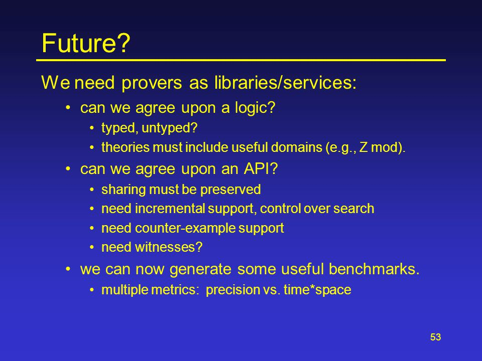 53 Future. We need provers as libraries/services: can we agree upon a logic.