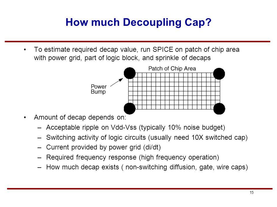 14 Making a Decoupling Cap Decaps are basically NMOS transistors.