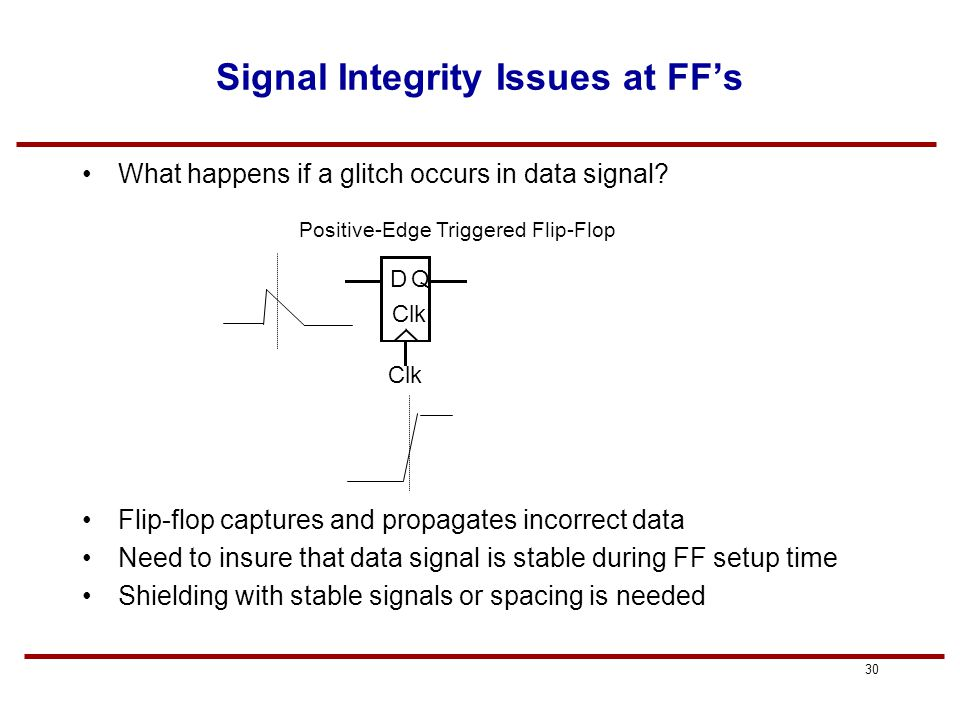 29 Signal Integrity Issues at FF's What happens if a glitch occurs in a clock signal? Flip-flop captures and propagates incorrect data Could view any