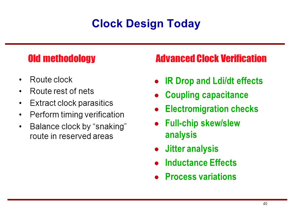39 Clock Design and Verification Many design styles –Low-speed designs: regular signals, symmetric tree –Medium-speed designs: balanced H-tree –High-speed designs Balanced buffered H-tree Grid Clock verification is more complex in DSM –RC Interconnect delays –Signal integrity (capacitive coupling, inductance) –IR drop –Signal Electromigration –Clock Jitter time-domain variation of a given clock signal due to random noise, IR drop, temperature, etc.