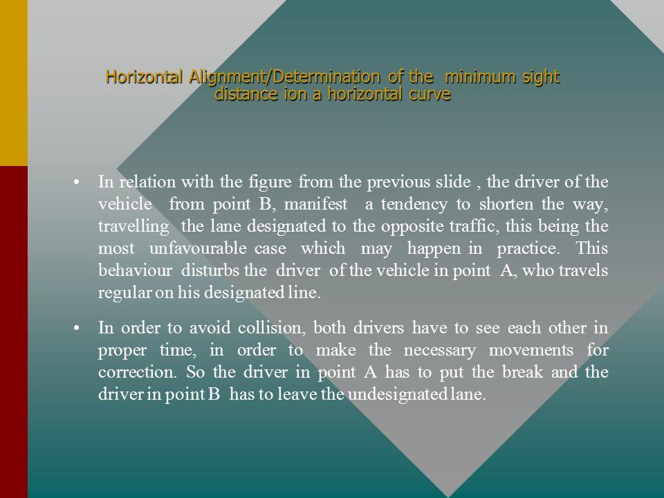 Horizontal Alignment/Determination of the minimum sight distance on a horizontal curve