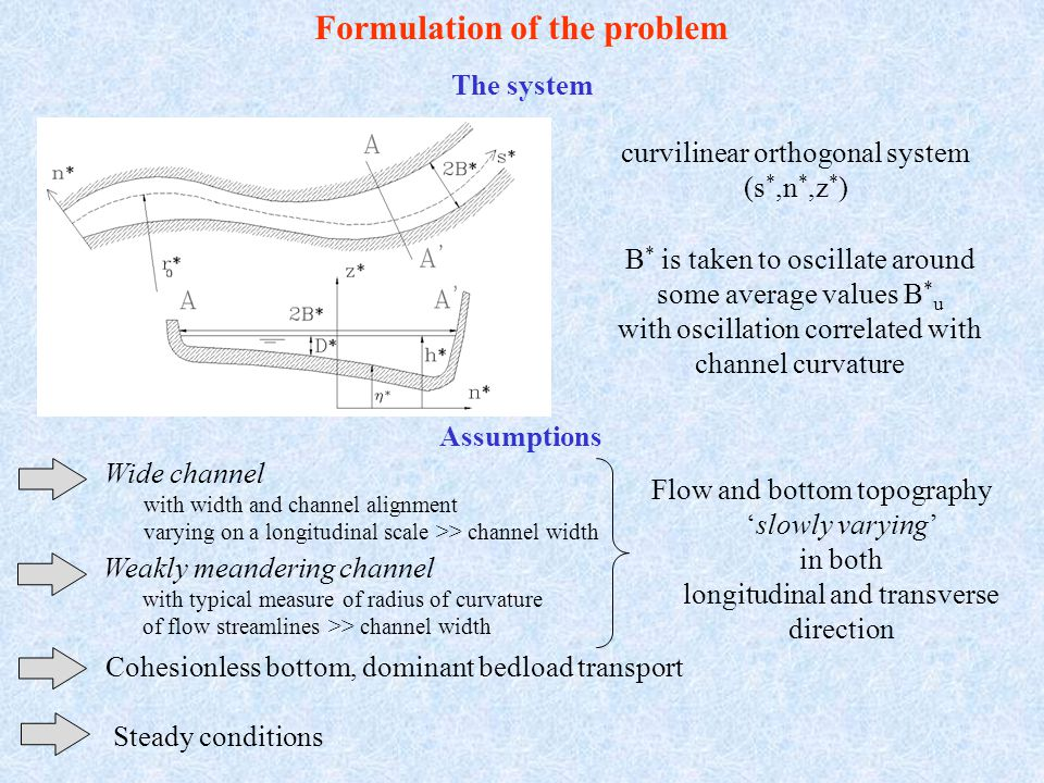 Formulation of the problem 3-D Reynolds continuity fluid phase continuity solid phase no slip at the bed kinematic condition at the free surface banks impermeable to flow and sediments dynamic condition at the free surface curvature ratio width ratio Parameters and scaling Governing equationsBoundary conditions b(  ) unknown 'slowly varying' function to be determined