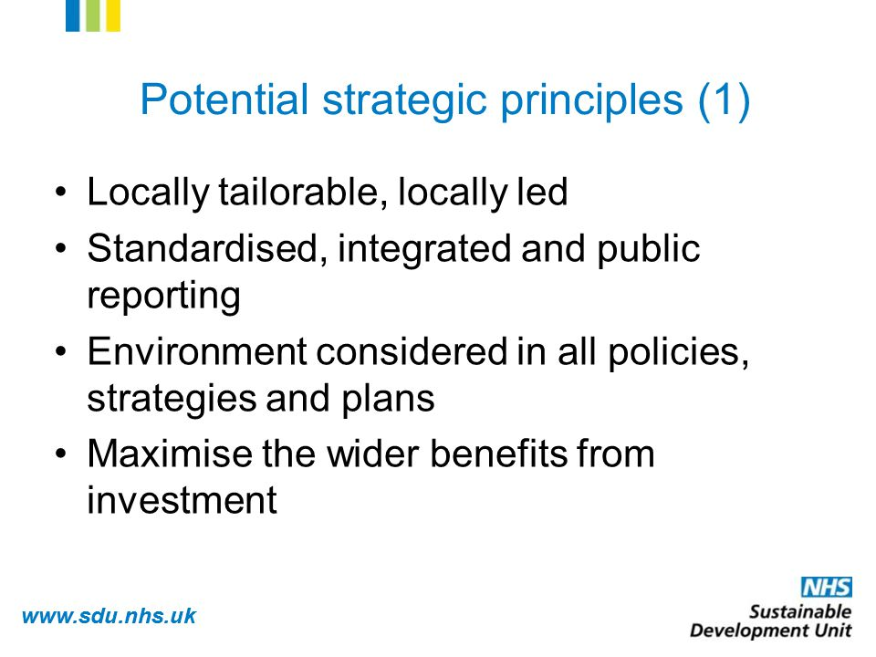 www.sdu.nhs.uk Potential strategic principles (1) Locally tailorable, locally led Standardised, integrated and public reporting Environment considered in all policies, strategies and plans Maximise the wider benefits from investment