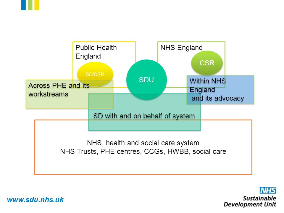 www.sdu.nhs.uk NHS England CSR Public Health England SDU NHS, health and social care system NHS Trusts, PHE centres, CCGs, HWBB, social care SD with and on behalf of system Within NHS England and its advocacy Within NHS England and its advocacy SD/CSR Across PHE and its workstreams