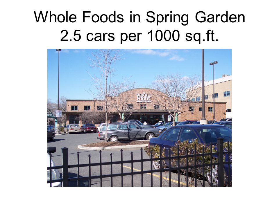 Whole Foods in Spring Garden 2.5 cars per 1000 sq.ft.