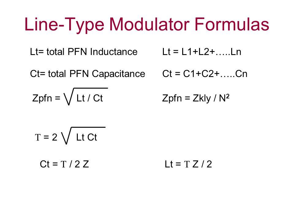 Line-Type Modulator Formulas Lt = L1+L2+…..Ln Ct = C1+C2+…..Cn Lt= total PFN Inductance Ct= total PFN Capacitance Zpfn = Lt / CtZpfn = Zkly / N 2  = 2 Lt Ct Ct =  / 2 ZLt =  Z / 2