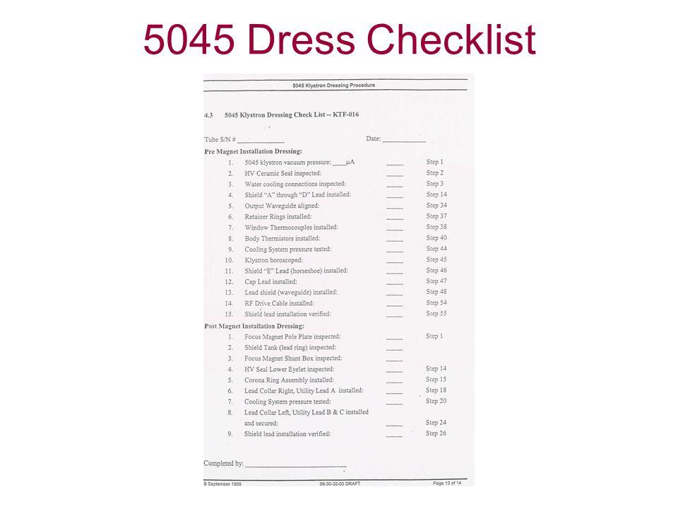 5045 Dress Checklist