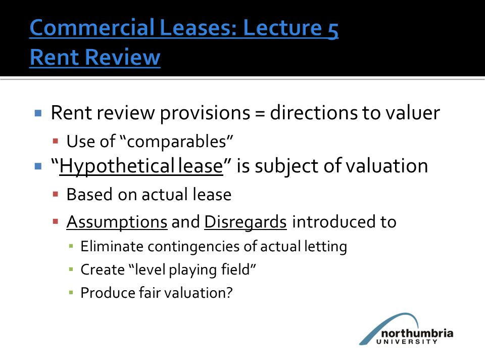 Hypothetical letting: lease provisions