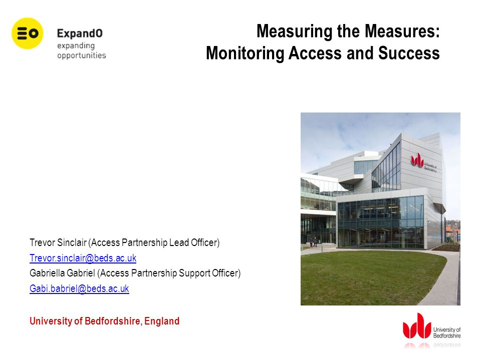 Measuring the Measures: Monitoring Access and Success Trevor Sinclair (Access Partnership Lead Officer) Trevor.sinclair@beds.ac.uk Gabriella Gabriel (Access Partnership Support Officer) Gabi.babriel@beds.ac.uk University of Bedfordshire, England