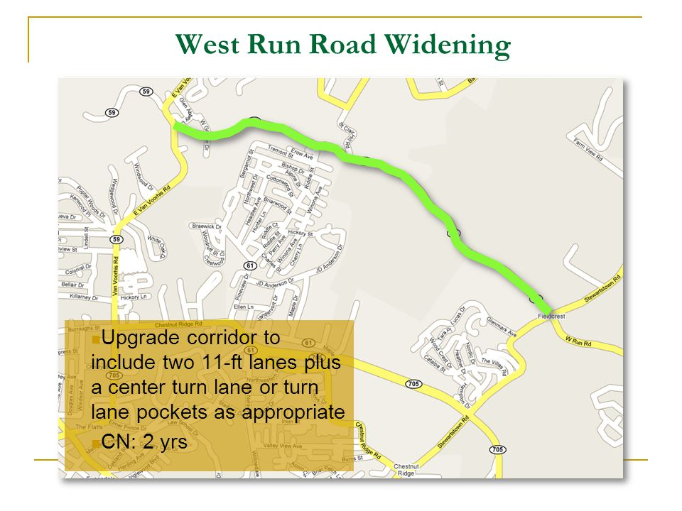 West Run Road Widening Upgrade corridor to include two 11-ft lanes plus a center turn lane or turn lane pockets as appropriate CN: 2 yrs
