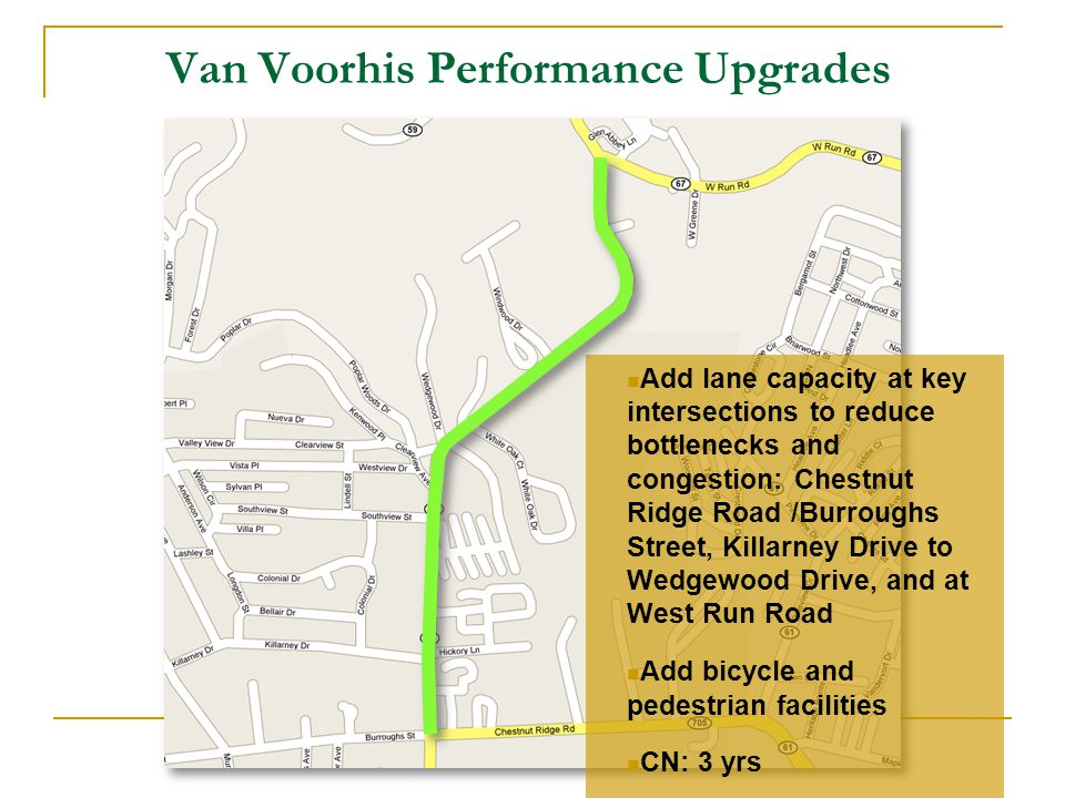 Add lane capacity at key intersections to reduce bottlenecks and congestion: Chestnut Ridge Road /Burroughs Street, Killarney Drive to Wedgewood Drive, and at West Run Road Add bicycle and pedestrian facilities CN: 3 yrs Van Voorhis Performance Upgrades