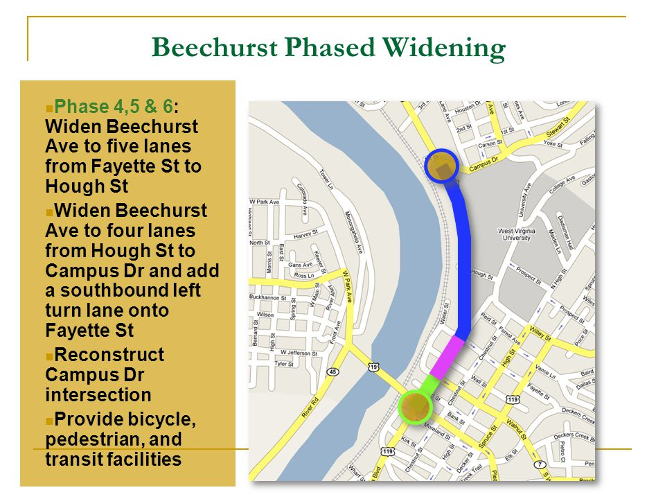 Beechurst Phased Widening Phase 4,5 & 6: Widen Beechurst Ave to five lanes from Fayette St to Hough St Widen Beechurst Ave to four lanes from Hough St to Campus Dr and add a southbound left turn lane onto Fayette St Reconstruct Campus Dr intersection Provide bicycle, pedestrian, and transit facilities