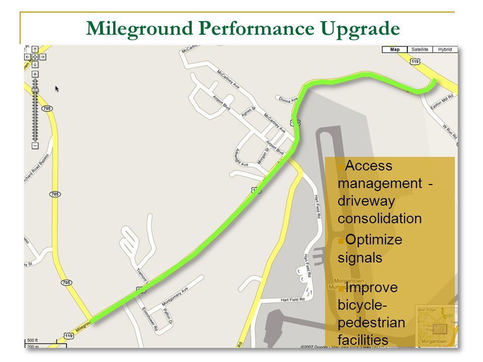 Mileground Performance Upgrade Access management - driveway consolidation Optimize signals Improve bicycle- pedestrian facilities