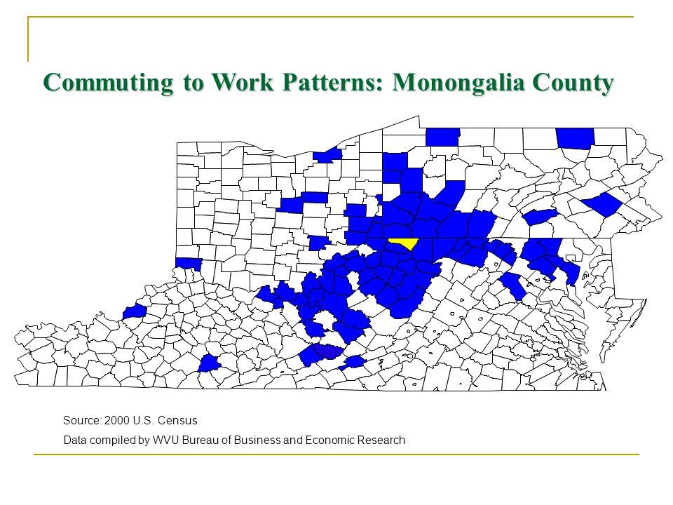 Commuting to Work Patterns: Monongalia County Source: 2000 U.S.