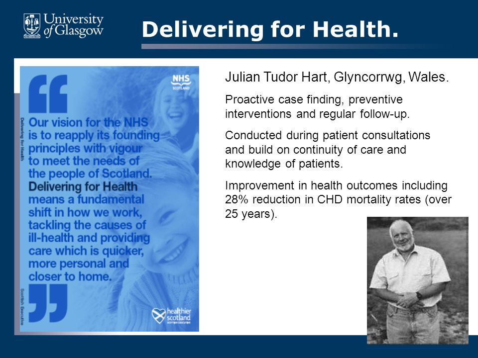 Delivering for Health.Julian Tudor Hart, Glyncorrwg, Wales.