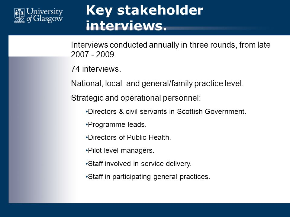 Key stakeholder interviews. Interviews conducted annually in three rounds, from late 2007 - 2009. 74 interviews. National, local and general/family pr