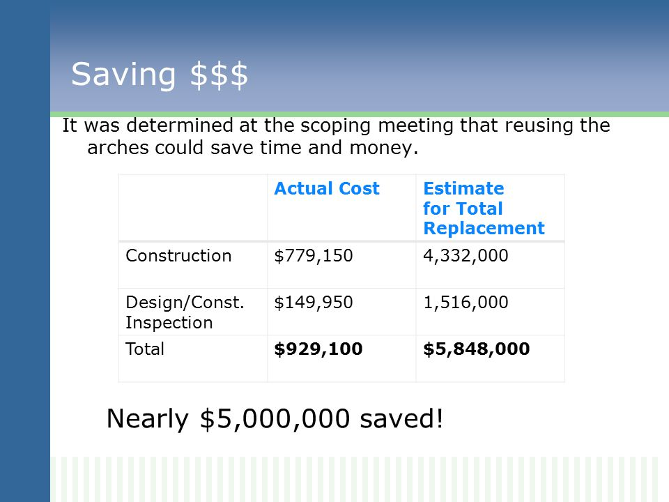 Saving $$$ It was determined at the scoping meeting that reusing the arches could save time and money.