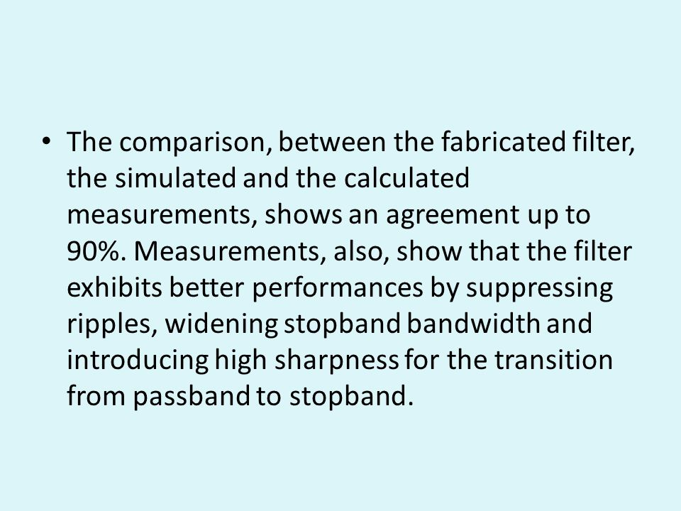 The comparison, between the fabricated filter, the simulated and the calculated measurements, shows an agreement up to 90%.
