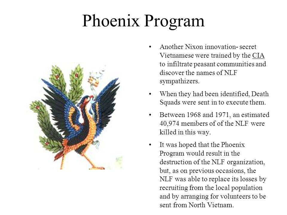 Phoenix Program Another Nixon innovation- secret Vietnamese were trained by the CIA to infiltrate peasant communities and discover the names of NLF sy