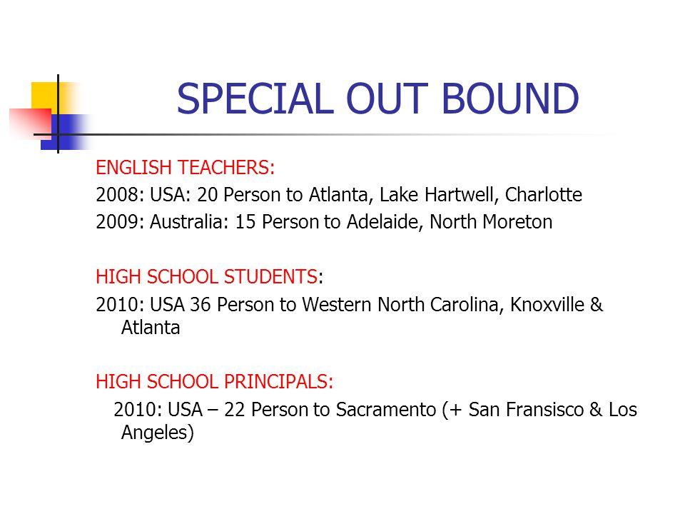 SPECIAL OUT BOUND ENGLISH TEACHERS: 2008: USA: 20 Person to Atlanta, Lake Hartwell, Charlotte 2009: Australia: 15 Person to Adelaide, North Moreton HI