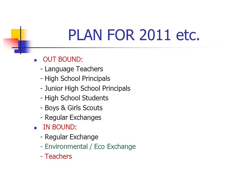 PLAN FOR 2011 etc.