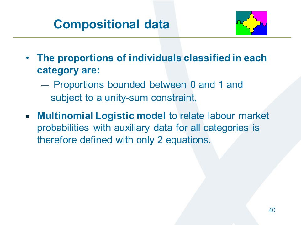 40 Compositional data The proportions of individuals classified in each category are:  Proportions bounded between 0 and 1 and subject to a unity-sum