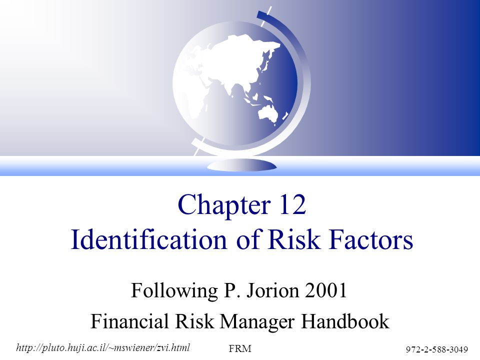 http://pluto.huji.ac.il/~mswiener/zvi.html 972-2-588-3049 FRM Chapter 12 Identification of Risk Factors Following P.