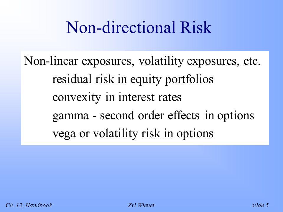 Ch. 12, HandbookZvi Wiener slide 5 Non-directional Risk Non-linear exposures, volatility exposures, etc. residual risk in equity portfolios convexity