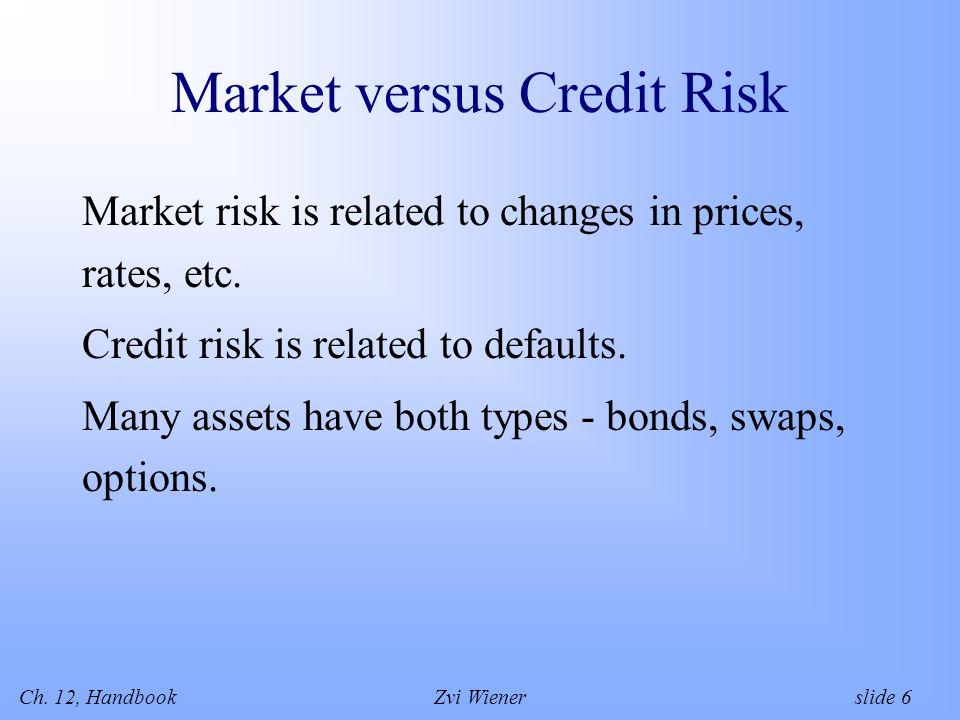 Ch. 12, HandbookZvi Wiener slide 6 Market versus Credit Risk Market risk is related to changes in prices, rates, etc. Credit risk is related to defaul