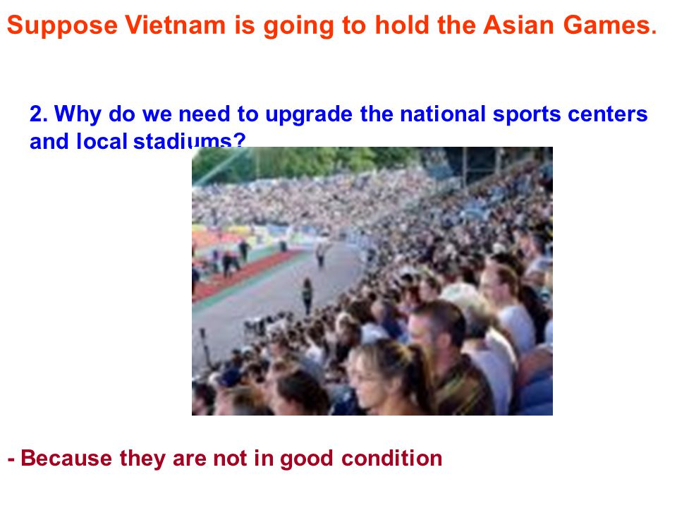 Suppose Vietnam is going to hold the Asian Games.2.
