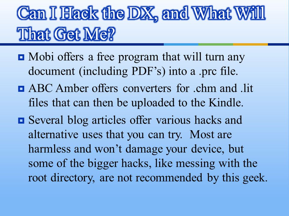  Mobi offers a free program that will turn any document (including PDF's) into a.prc file.