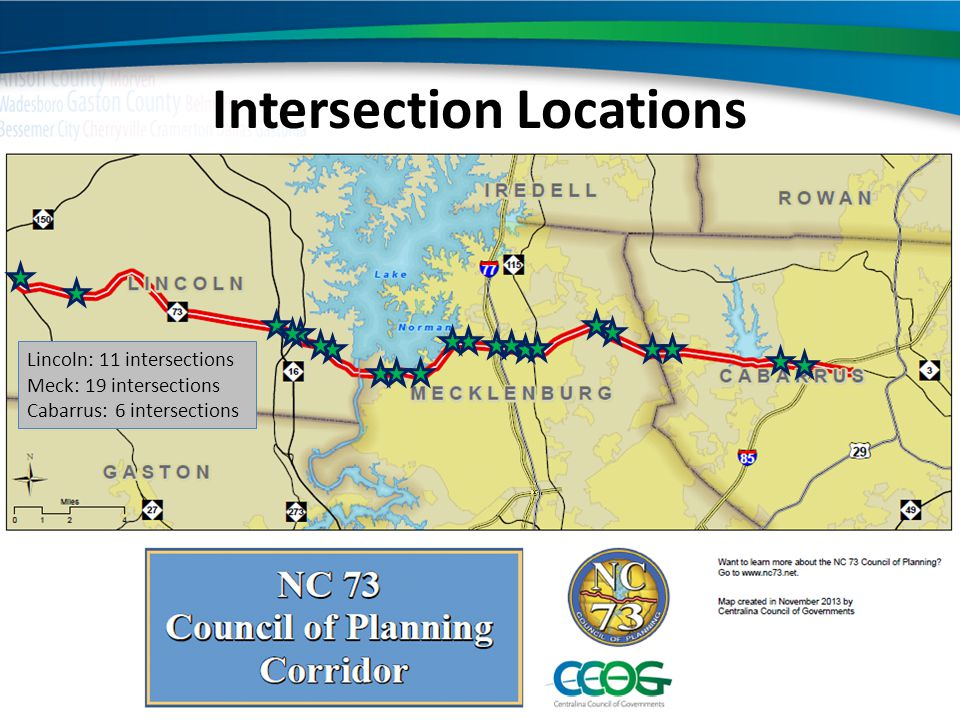 Intersection Locations Lincoln: 11 intersections Meck: 19 intersections Cabarrus: 6 intersections