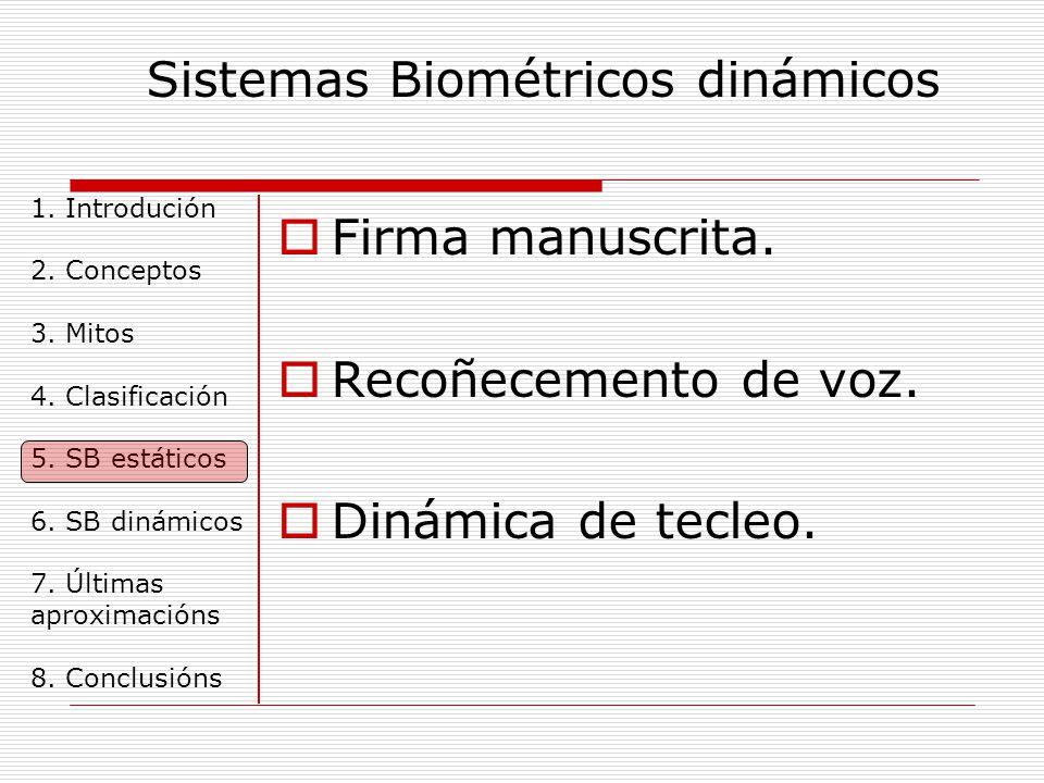 Sistemas Biométricos dinámicos 1. Introdución 2. Conceptos 3.
