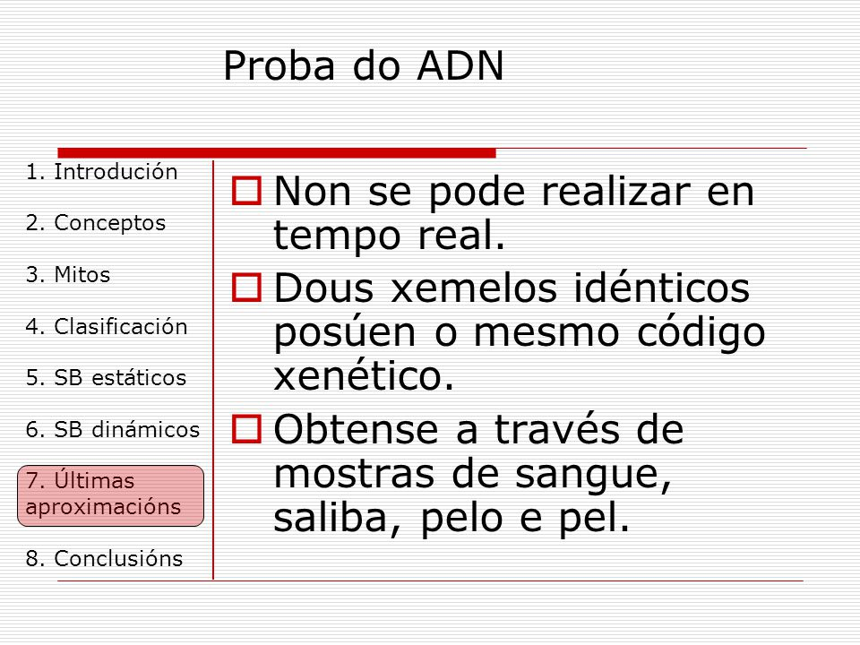 Proba do ADN 1.Introdución 2. Conceptos 3. Mitos 4.