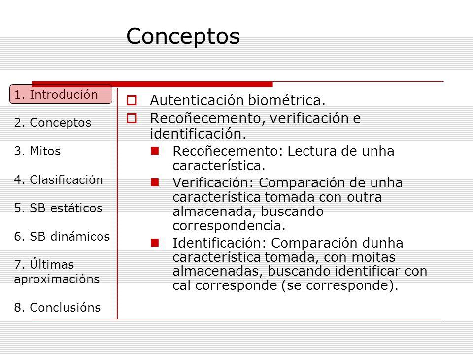 Conceptos  Autenticación biométrica. Recoñecemento, verificación e identificación.