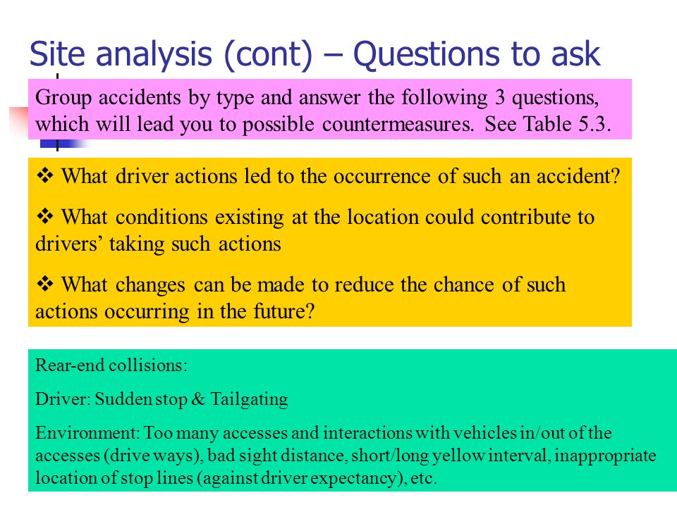 Site analysis (cont) – Questions to ask Group accidents by type and answer the following 3 questions, which will lead you to possible countermeasures.