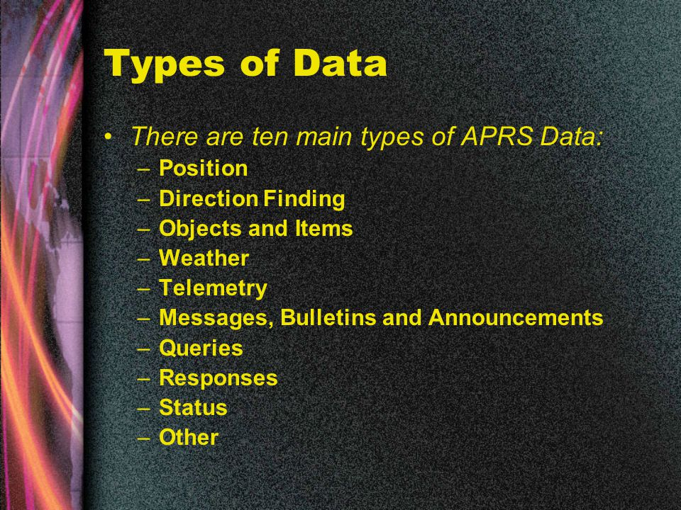 Types of Data There are ten main types of APRS Data: –Position –Direction Finding –Objects and Items –Weather –Telemetry –Messages, Bulletins and Announcements –Queries –Responses –Status –Other