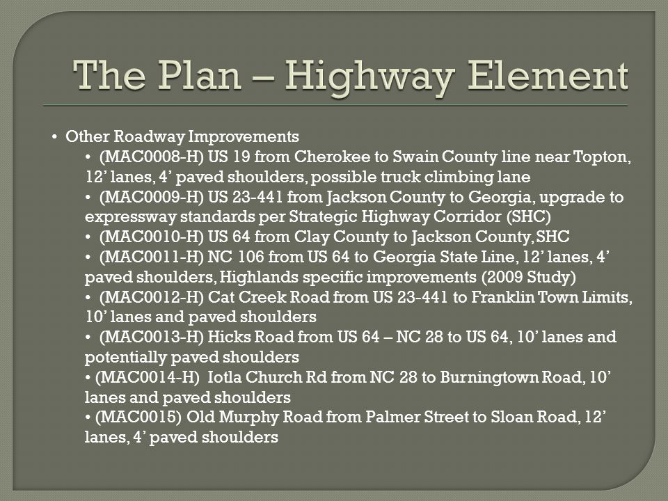 Other Roadway Improvements (MAC0008-H) US 19 from Cherokee to Swain County line near Topton, 12' lanes, 4' paved shoulders, possible truck climbing la