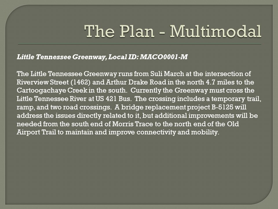 Little Tennessee Greenway, Local ID: MACO0001-M The Little Tennessee Greenway runs from Suli March at the intersection of Riverview Street (1462) and