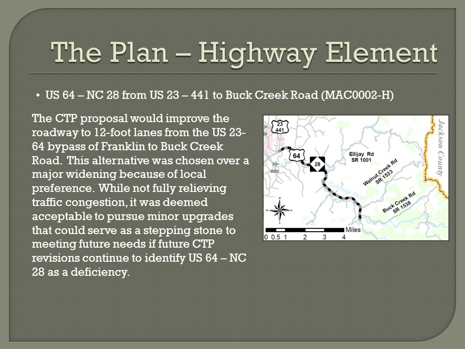 US 64 – NC 28 from US 23 – 441 to Buck Creek Road (MAC0002-H) The CTP proposal would improve the roadway to 12-foot lanes from the US 23- 64 bypass of
